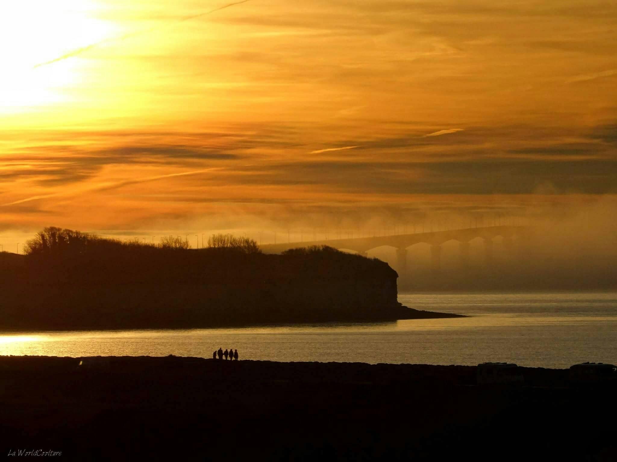 Coucher de soleil pont île de Ré