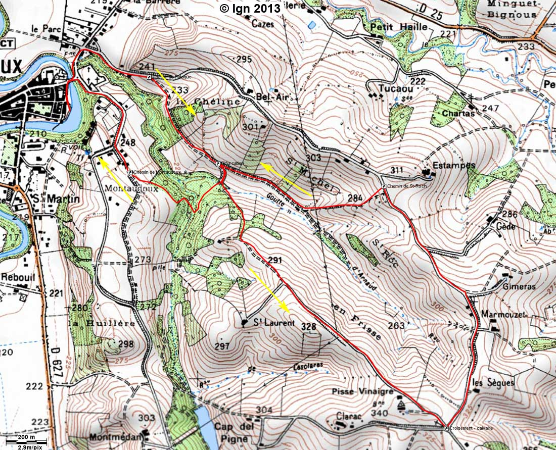 tracé-balade-randonnée-balcon-Pyrénées-Rieux-Volvestre