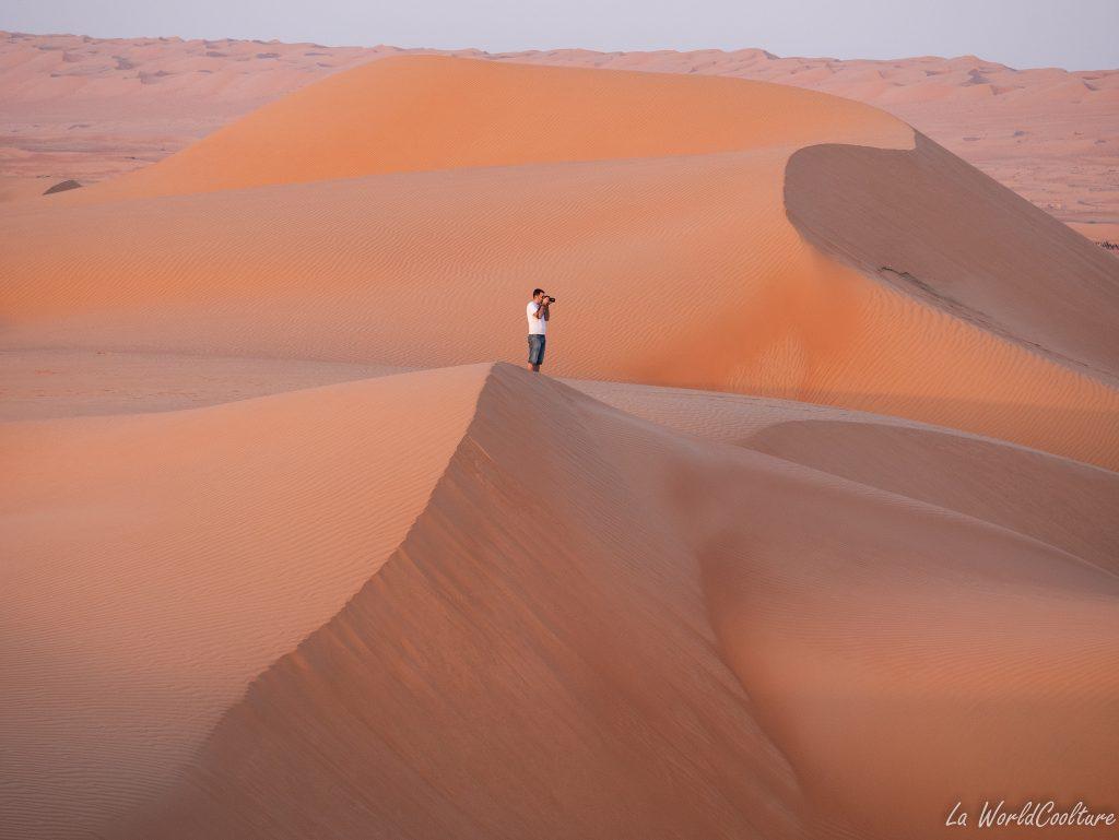 aurore dans le Wahiba Sands à Oman
