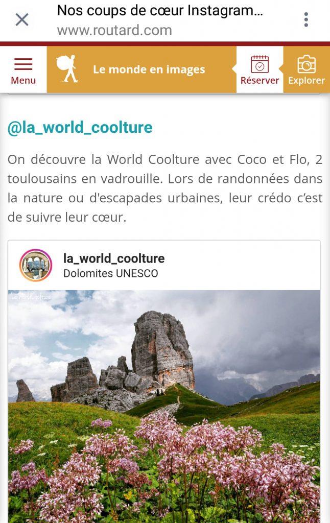 La World Coolture coup de coeur Instagram Le Routard 2020